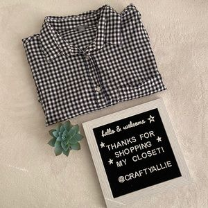 aerie   Navy Gingham Short-Sleeve Button Down   M